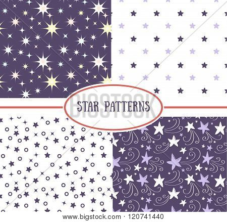 Set of star seamless patterns