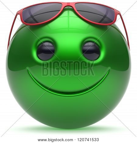 Smile face cheerful head ball sphere emoticon cartoon smiley happy decoration cute green red sunglasses. Smiling funny joyful person laughing joy character toy avatar. 3d render