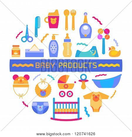 Vector baby design element with different products arranged in a circle and sign