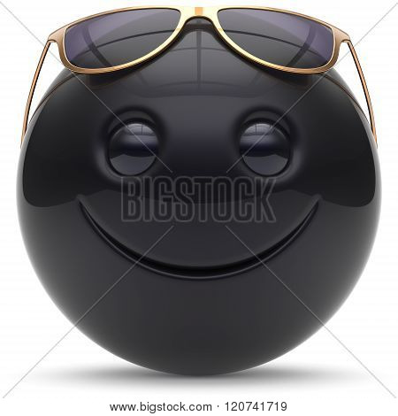 Smiling face head ball cheerful sphere emoticon cartoon smile happy decoration cute black golden sunglasses. Smiley funny joyful person laughing joy character toy avatar. 3d render isolated