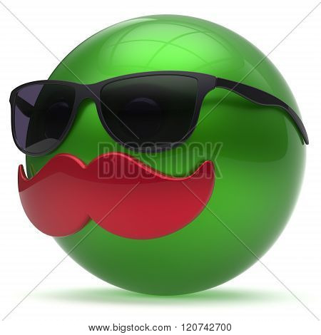 Smiling cartoon mustache face emoticon ball happy joyful handsome person green sunglasses caricature icon. Cheerful eyeglasses laughing fun sphere positive smiley character avatar. 3d render isolated