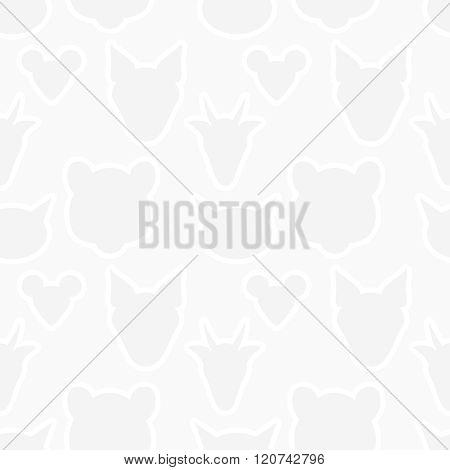 Animals Heads Silhouette Seamless Pattern. Vector Light Gray Wallpaper Texture