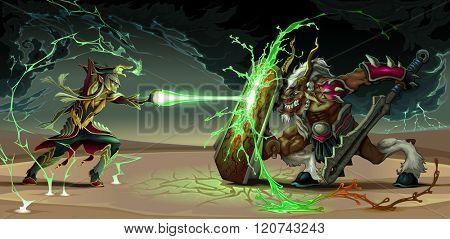 Fighting scene between elf and beast. Fantasy vector illustration