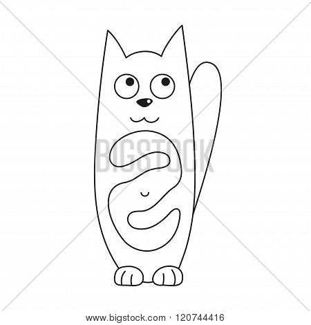 Cartoon kitty, vector illustration of funny cute cat with full tummy, coloring book