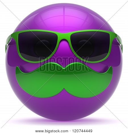 Smiling mustache face cartoon emoticon ball happy joyful handsome person purple caricature sunglasses icon. Cheerful eyeglasses laughing fun sphere positive smiley character avatar. 3d render