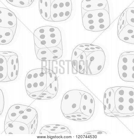 Light Gray Dices On The White Background. Monochrome Seamless Original Vector Pattern.