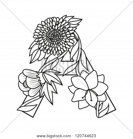 Cute flower letter A. Monogram A with flowers, coloring book page