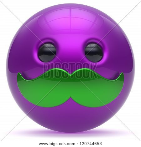 Smiling mustache face cartoon cute emoticon ball happy joyful handsome person purple blue green caricature icon. Cheerful laughing fun sphere positive smiley character avatar. 3d render
