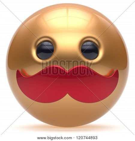 Cartoon smiling mustache face cute emoticon ball happy joyful handsome person golden red caricature stylish icon. Cheerful laughing fun sphere positive smiley character avatar. 3d render