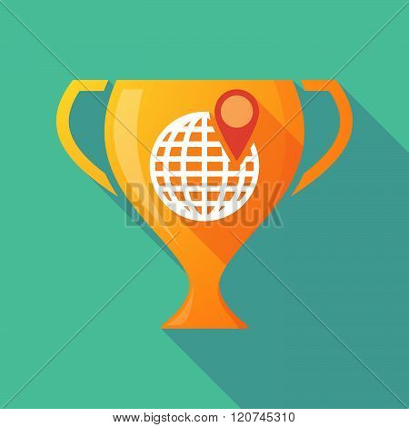 Long Shadow Trophy Icon With A World Globe