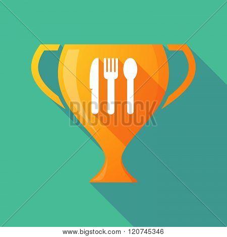 Long Shadow Trophy Icon With Cutlery