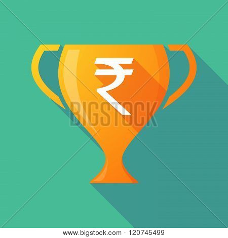Long Shadow Trophy Icon With A Rupee Sign