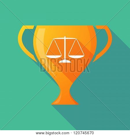 Long Shadow Trophy Icon With A Justice Weight Scale Sign