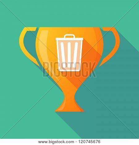 Long Shadow Trophy Icon With A Trash Can
