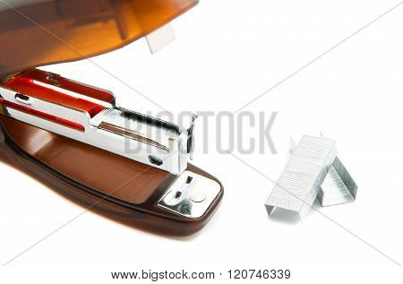 Plastic Stapler And Staples On White