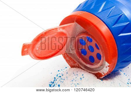 Bottle With Powder On White