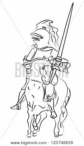 Vector Ink Sketch Of A Knight On The Horse