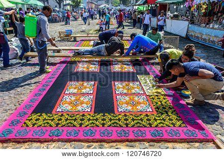 Making Lent Carpets, Antigua, Guatemala