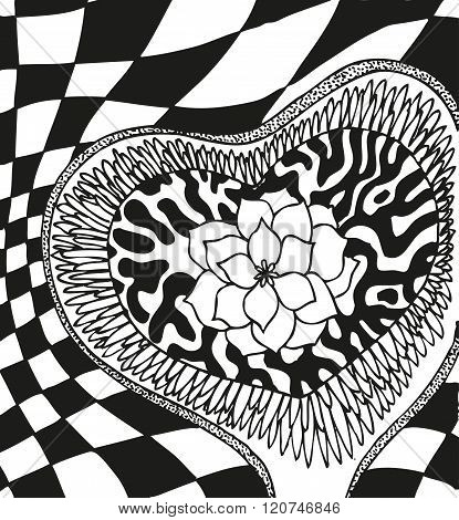 Abstract background with doodling hand drawn patterns, flower heart