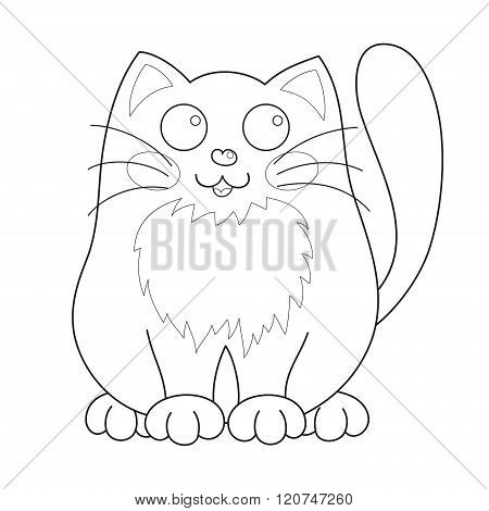 Cartoon smiling gentle kitty sit, coloring book page for children