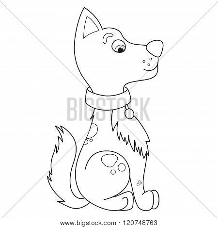 Cartoon smiling puppy, coloring book page