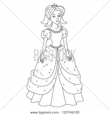Beautiful princess, girl like Snow White, coloring book page