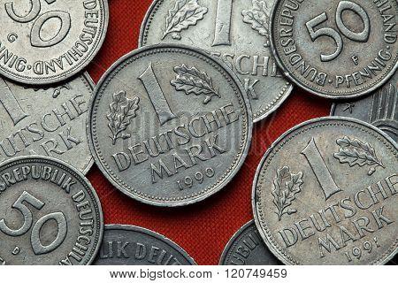Coins of Germany. German one Deutsche Mark coin.