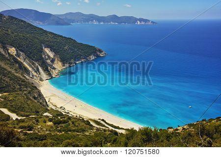 Panoramic View of beautiful Myrtos beach, Kefalonia, Greece