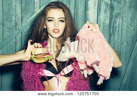 Woman With Pig And Burger
