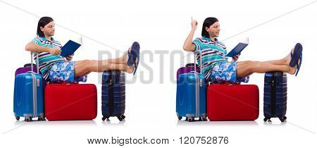 Tourist with bags isolated on white