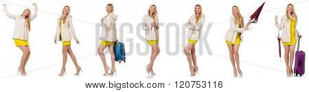 Woman posing in various poses isolated on white