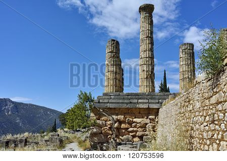 The Temple of Apollo in Ancient Greek archaeological site of Delphi, Greece