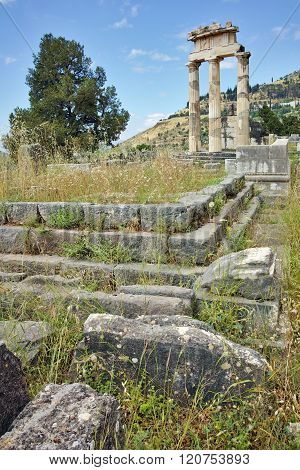 Panorama of Athena Pronaia Sanctuary at Delphi, Greece