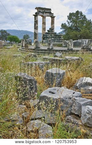 Ruins of Athena Pronaia Sanctuary at Delphi, Greece