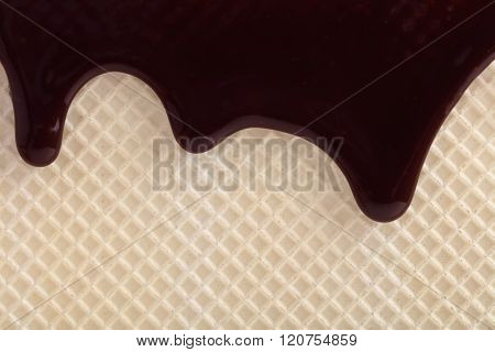 Wafer with flowing  licorice sauce