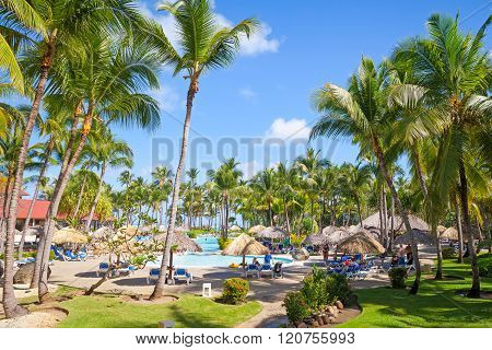 Ordinary Tourists Resting In Punta Cana Resort