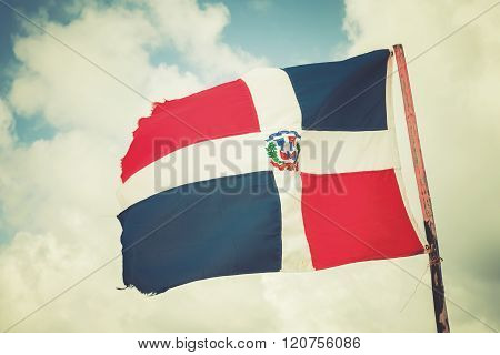 Flag Of Dominican Republic Is Waving On Wind