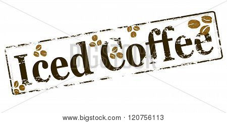Rubber stamp with text iced coffee inside vector illustration