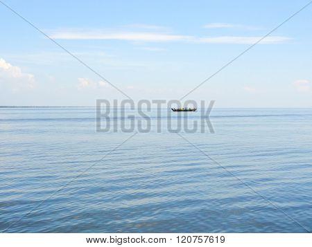 Lonely Boat In Cambodia