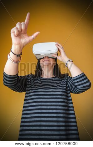 A Woman Enjoying A 3D Experience With A Vr Headset