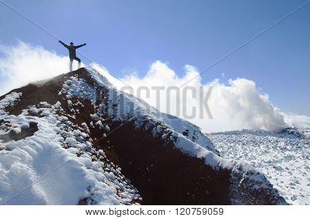 Climber on the summit of Avacha volcano