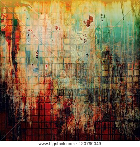 Grunge stained texture, distressed background with space for text or image. With different color patterns: yellow (beige); brown; green; blue; red (orange)
