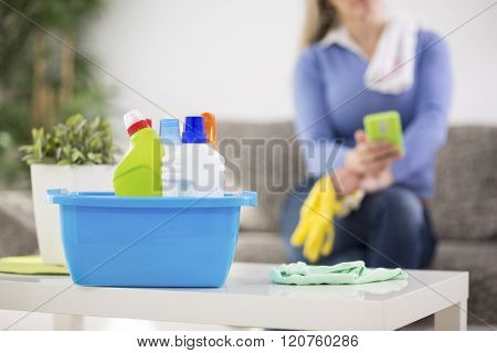 Housewife prepare cleaning products for cleaning house