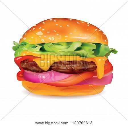 Big Tasty Realistic Burger with Meat Cheese Onion TomatoesSesame and Lettuce Isolated On White Background