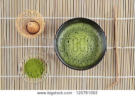 Green Matcha Tea Above View