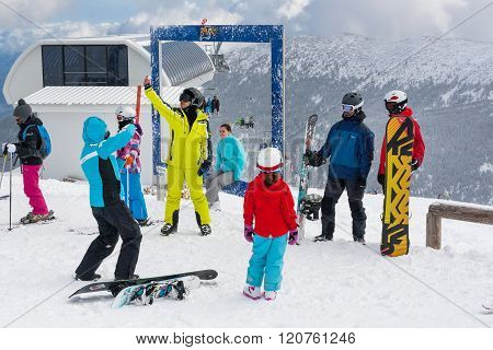 Ski Resort, People Taking Photoes At Upper Station, Bansko, Bulgaria