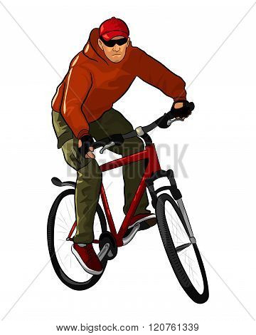 A male bicyclist riding a mountain bicycle isolated against white background. Hand drawing illustrat