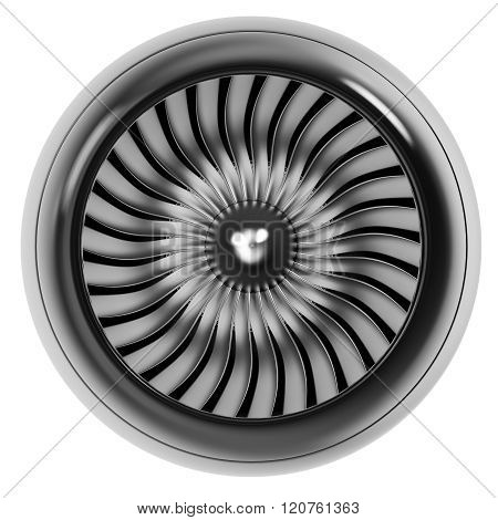 Jet engine front view isolated on white background.