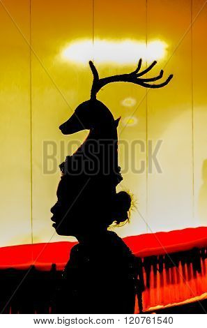 Silhouette of a deer mask - illustration designation.