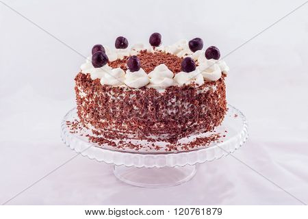 Black forest cake decorated with whipped cream and cherries.